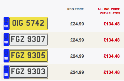Cheap private number plates