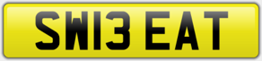 SW13 EAT - SWEAT PRIVATE NUMBER PLATE