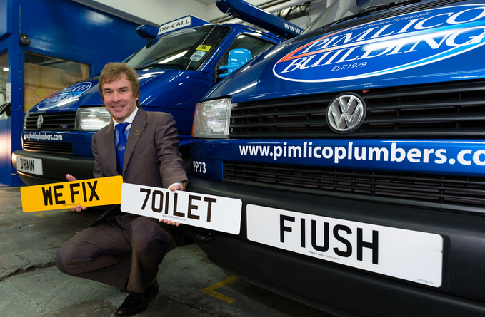Pimlico Plumbers using a private reg to promote their business (image: plate-trader.com)