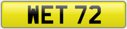 WET 72 - WET PRIVATE NUMBER PLATE