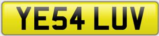 Valentines Number Plates - YE54 LUV